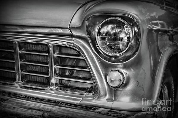 Wall Art - Photograph - 1955 Chevy Pick Up Truck Front Quarter Panel In Black And White by Paul Ward