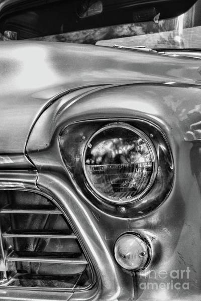 Wall Art - Photograph - 1955 Chevy Pick Up Truck Headlight In Black And White by Paul Ward