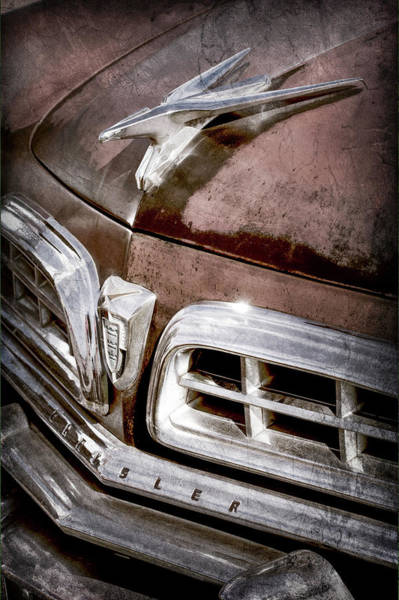 Wall Art - Photograph - 1955 Chrysler Hood Ornament - Grille -0363ac by Jill Reger
