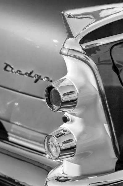 Photograph - 1955 Dodge Coronet Tail Light Emblem -0086bw by Jill Reger