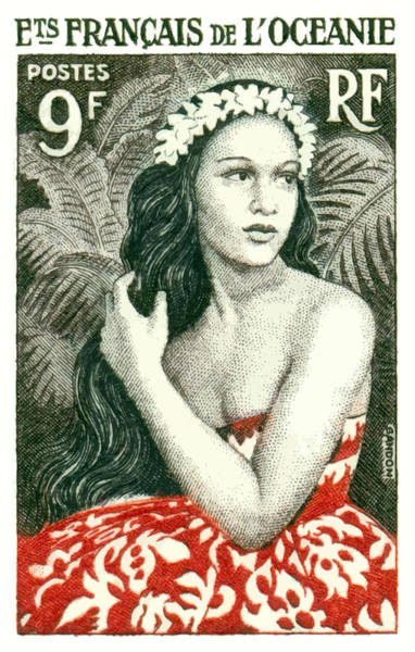 Polynesia Wall Art - Digital Art - 1955 French Polynesia Girl Of Bora Bora Postage Stamp  by Retro Graphics