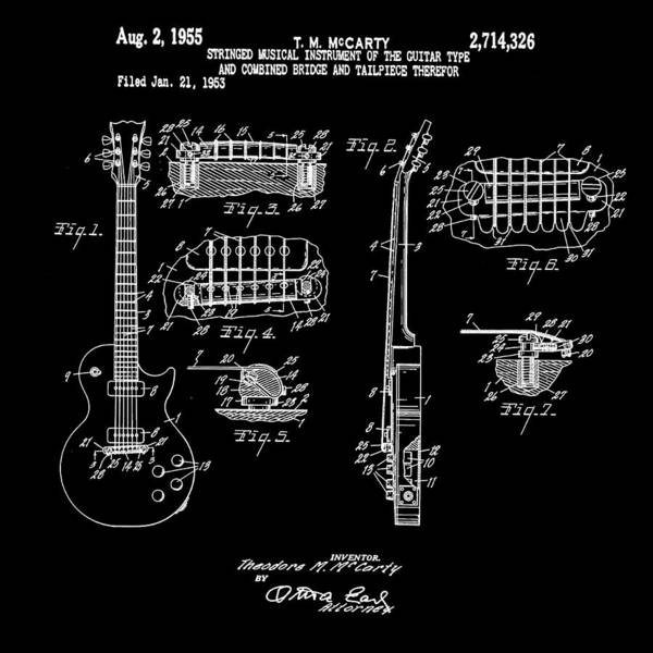 Wall Art - Photograph - 1955 Gibson Les Paul Patent In Black by Digital Reproductions