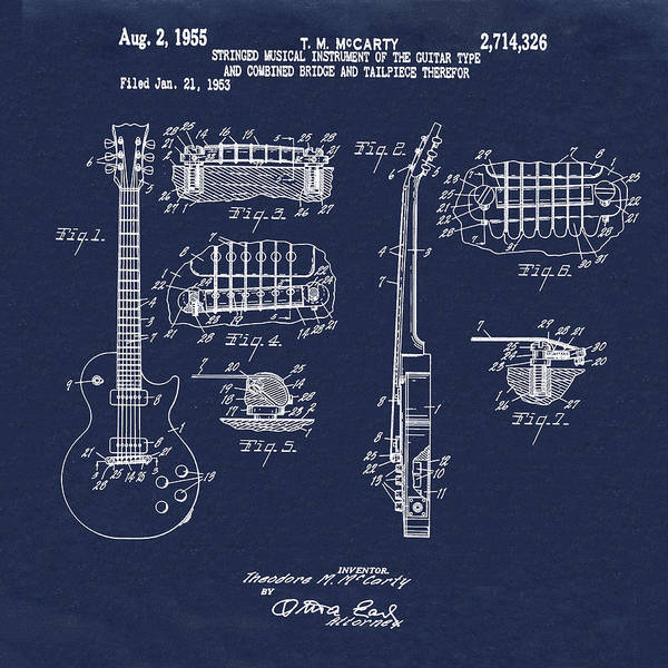 Wall Art - Photograph - 1955 Gibson Les Paul Patent In Blue by Bill Cannon