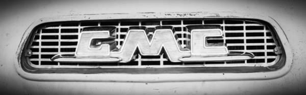 Wall Art - Photograph - 1955 Gmc Pickup Truck Grille Emblem -0314bw2 by Jill Reger