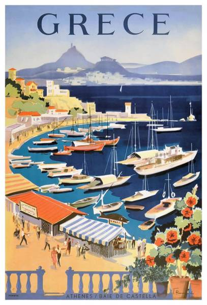 Wall Art - Digital Art - 1955 Greece Athens Bay Of Castella Travel Poster by Retro Graphics