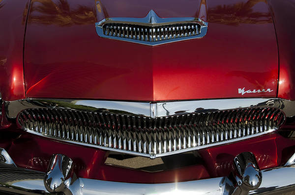 Photograph - 1955 Kaiser Hood Ornament And Grille by Jill Reger