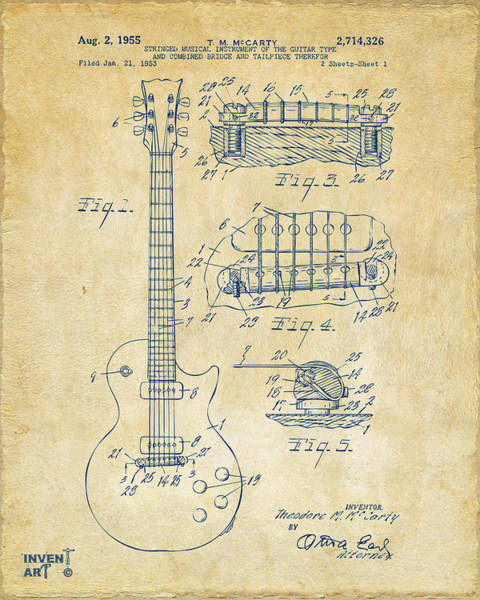 Patent Drawing Wall Art - Drawing - 1955 Mccarty Gibson Les Paul Guitar Patent Artwork Vintage by Nikki Marie Smith