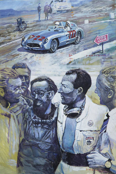 Wall Art - Painting - 1955 Mercedes Benz 300 Slr Moss Jenkinson Winner Mille Miglia  by Yuriy Shevchuk