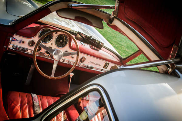 Photograph - 1955 Mercedes-benz 300sl Gullwing Steering Wheel - Race Car -0329c by Jill Reger