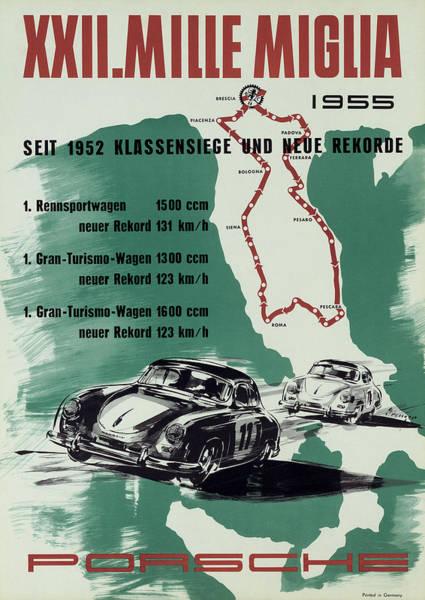 Street Racer Photograph - 1955 Mille Miglia Porsche Poster by Georgia Fowler