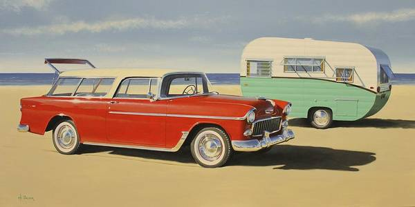 Chevy Wall Art - Painting - 1955 Nomad by Henry Balzer