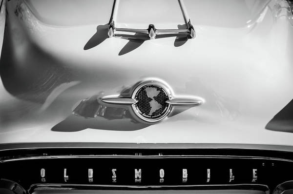 Photograph - 1955 Oldsmobile Rocket 88 Hood Ornament -0275bw by Jill Reger