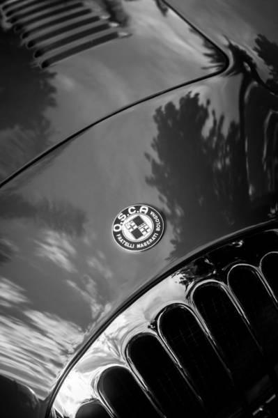 Photograph - 1955 Osca Mt4 Spyder Hood Emblem -0385bw by Jill Reger