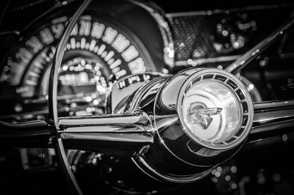 Wall Art - Photograph - 1955 Pontiac Star Chief Steering Wheel Emblem -0103bw by Jill Reger
