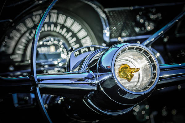 Wall Art - Photograph - 1955 Pontiac Star Chief Steering Wheel Emblem -0103c by Jill Reger