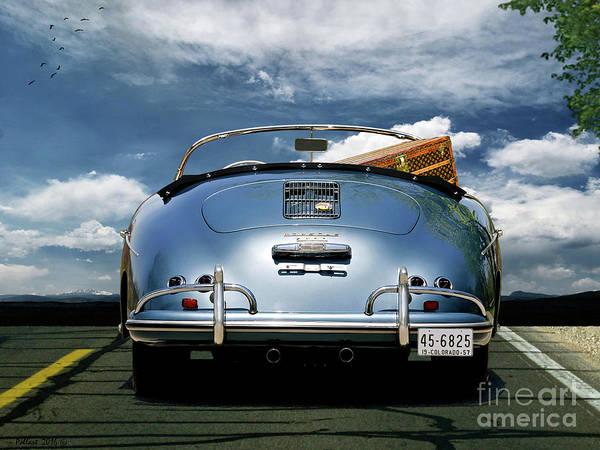 St Louis Cardinals Mixed Media - 1955 Porsche, 356a, 1600 Speedster, Aquamarin Blue Metallic, Louis Vuitton Classic Steamer Trunk by Thomas Pollart