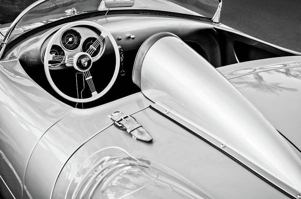 Wall Art - Photograph - 1955 Porsche Spyder Steering Wheel -0037bw3 by Jill Reger