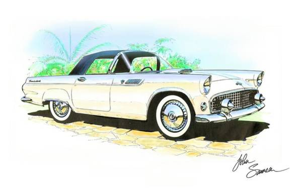 Car Show Painting - 1955 Thunderbird Painting by John Samsen