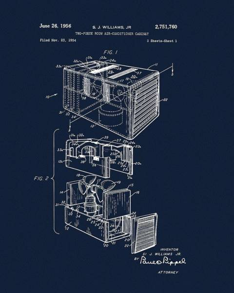 Drawing - 1956 Air Conditioner Patent by Dan Sproul