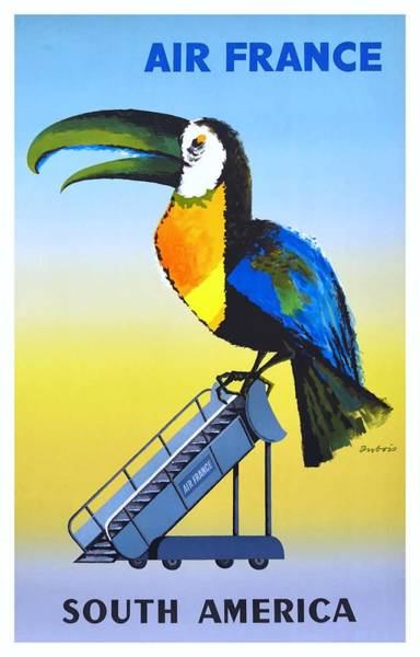 Wall Art - Digital Art - 1956 Air France South America Toucan Travel Poster by Retro Graphics