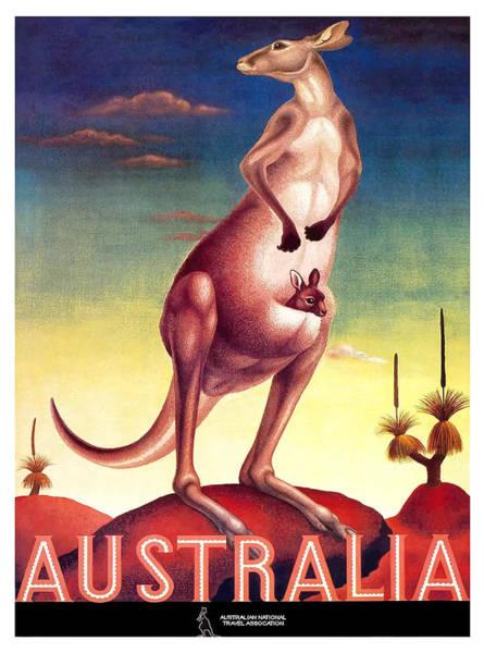 Kangaroo Wall Art - Digital Art - 1956 Australia Outback Kangaroo Travel Poster by Retro Graphics