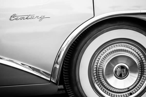 Photograph - 1956 Buick Century Wheel -417bw by Jill Reger