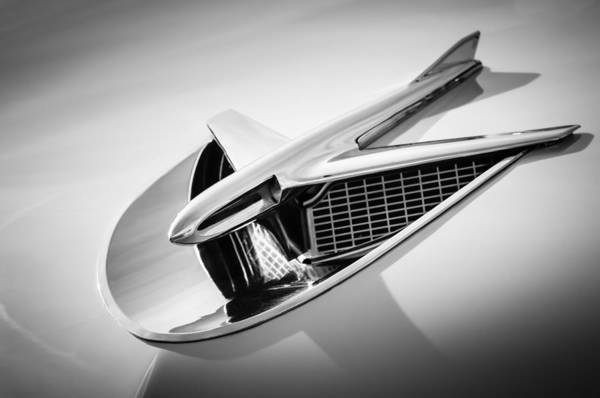 Photograph - 1956 Buick Special Hood Ornament -0758bw by Jill Reger