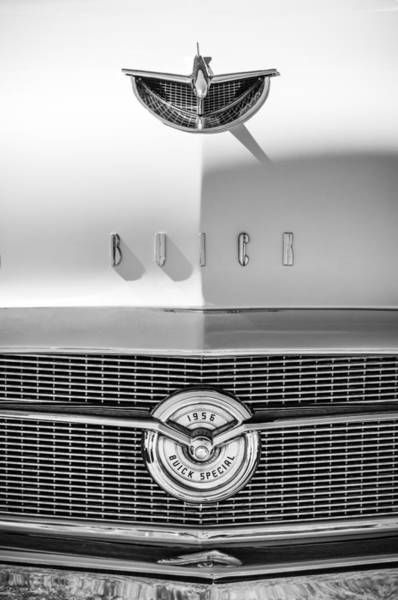 Wall Art - Photograph - 1956 Buick Special Hood Ornament - Emblem -0538bw by Jill Reger