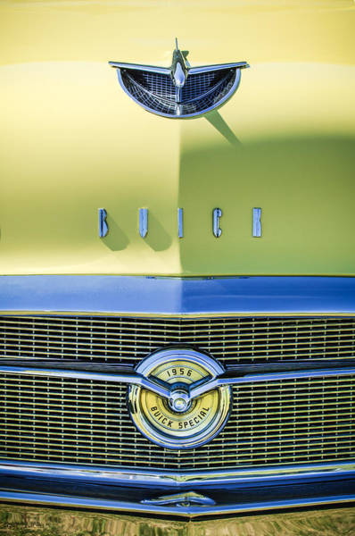 Wall Art - Photograph - 1956 Buick Special Hood Ornament - Emblem -0538c by Jill Reger