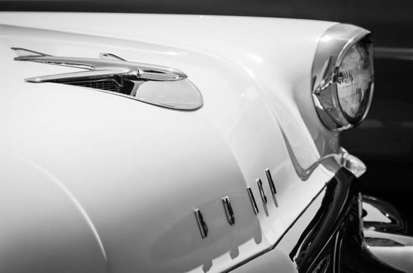 Wall Art - Photograph - 1956 Buick Special Hood Ornament - Emblem -0925bw by Jill Reger