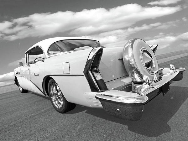 Photograph - 1956 Buick Special Rear In Black And White by Gill Billington