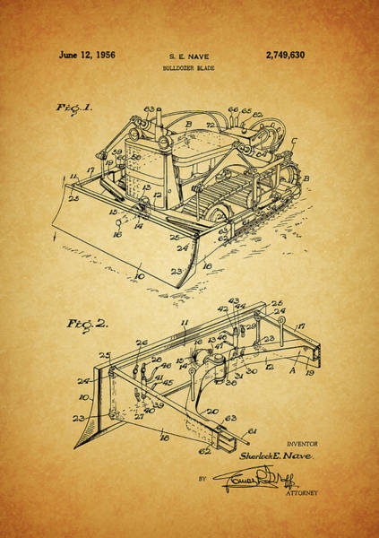 Blades Mixed Media - 1956 Bulldozer Patent by Dan Sproul