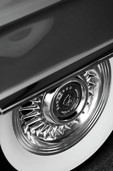 Car Part Photograph - 1956 Cadillac Eldorado Wheel Black And White by Jill Reger
