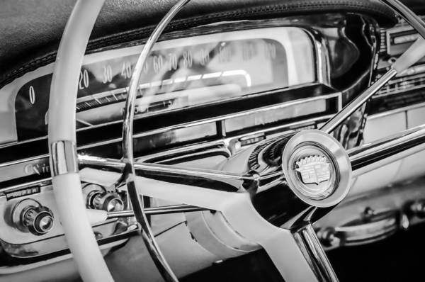 Photograph - 1956 Cadillac Steering Wheel -0161bw by Jill Reger