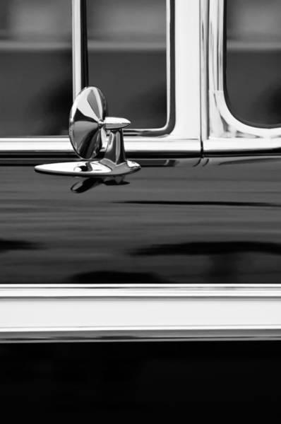 Photograph - 1956 Chevrolet 2-door Side Mirror -002bw by Jill Reger