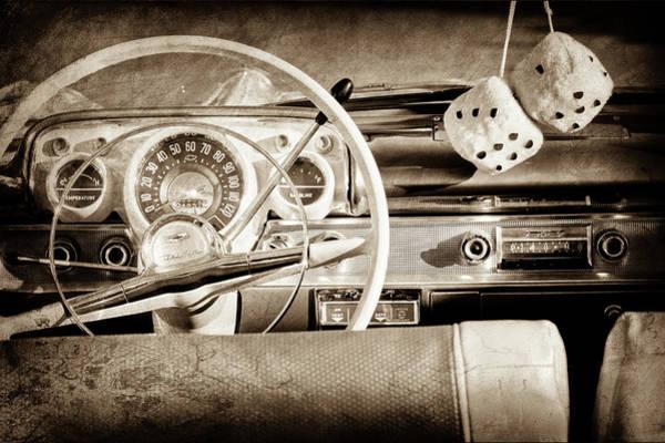 Wall Art - Photograph - 1956 Chevrolet Belair Steering Wheel -0492s by Jill Reger