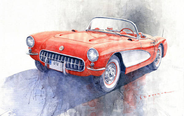 Wall Art - Painting - 1956 Chevrolet Corvette C1 by Yuriy Shevchuk