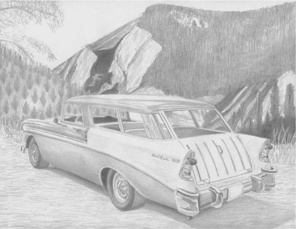 Nomad Drawing - 1956 Chevrolet Nomad Classic Car Art Print by Stephen Rooks