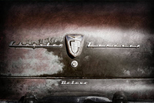 Wall Art - Photograph - 1956 Chrysler Windsor Emblem -393ac by Jill Reger