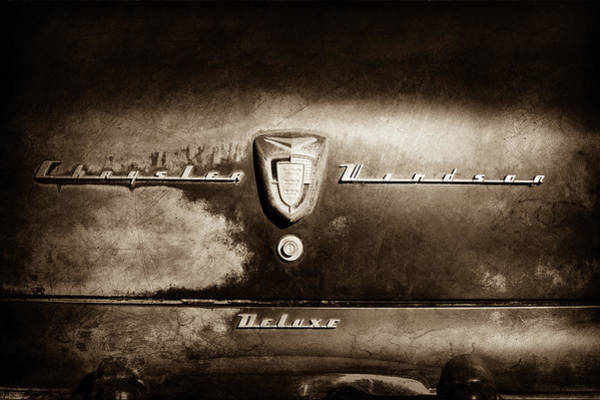 Wall Art - Photograph - 1956 Chrysler Windsor Emblem -393s by Jill Reger