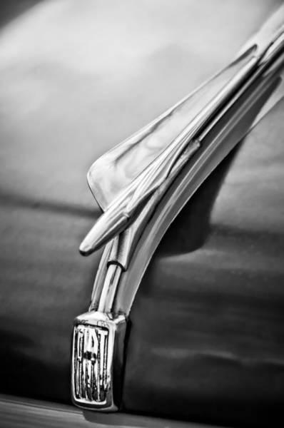 Photograph - 1956 Fiat 600 Elaborata Hood Ornament -0177bw by Jill Reger