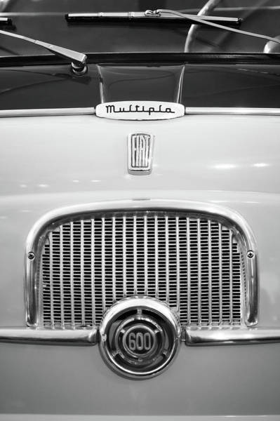 Wall Art - Photograph - 1956 Fiat 600 Multipla Grille Emblem -0133bw by Jill Reger