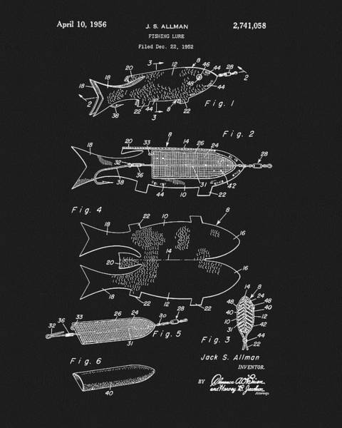 Mixed Media - 1956 Fishing Lure Patent by Dan Sproul