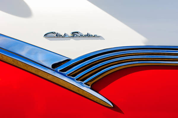 Wall Art - Photograph - 1956 Ford Club Sedan Emblem -536c by Jill Reger