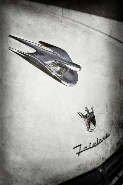 Wall Art - Photograph - 1956 Ford Crown Victoria Fairlane Hood Ornament - Emblem -0014as by Jill Reger