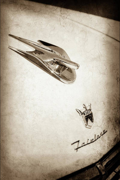 Wall Art - Photograph - 1956 Ford Crown Victoria Fairlane Hood Ornament - Emblem -0014s by Jill Reger