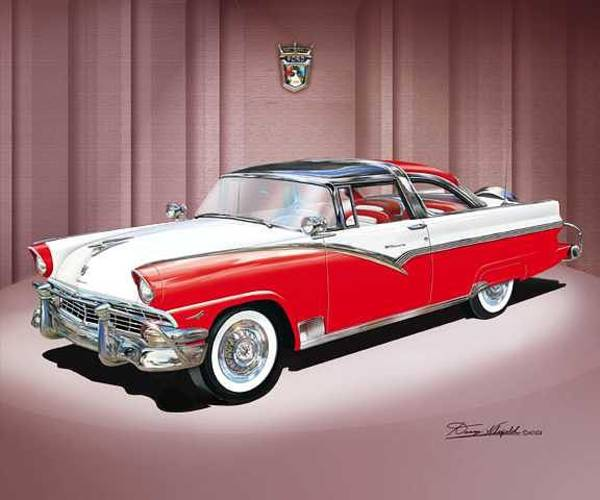 Car Drawings Mixed Media - 1956 Ford Fairlane Crown Victoria by Danny Whitfield