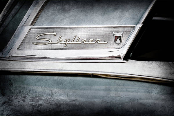 Wall Art - Photograph - 1956 Ford Fairlane Skyliner Emblem -0406ac by Jill Reger