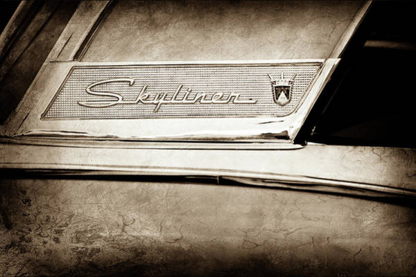 Wall Art - Photograph - 1956 Ford Fairlane Skyliner Emblem -0406s by Jill Reger
