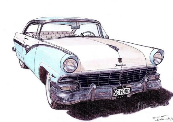 American Car Drawing - 1956 Ford Fairlane Victoria by Dan Poll